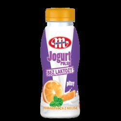 Йогурт Mlekovita питьевой с апельсином и мелисой 250мл,  Mlekovita, Безлактозные