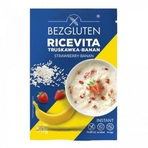 Каша Bezgluten рисовая с клубнично-банановым вкусом 50г