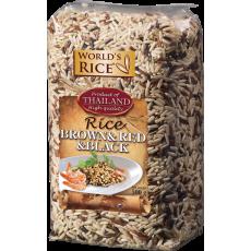 Смесь риса World`s Rice натурал, красный, черный 500г
