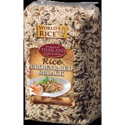 Смесь риса World`s Rice натурал, красный, черный 500г,  World`s Rice, Мюсли, крупы и каши