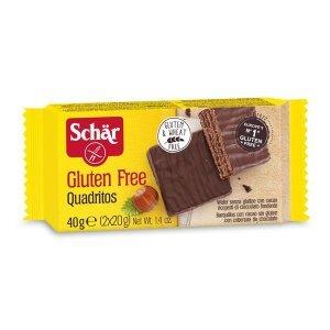 Вафли Dr.Schar со вкусом какао покрытые темным шоколадом 40г