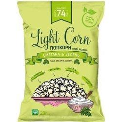 Попкорн Lajt Snek зi смаком сметани та зеленi 20г,  Lajt Snek, Чипсы и попкорн